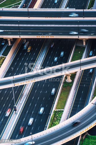 istock Interchange with traffic in Dubai, UAE 1159376640