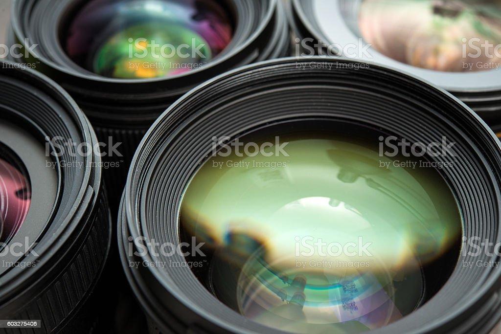 Interchangeable camera lenses stock photo