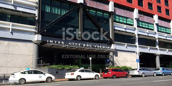 Auckland, New Zealand - September 12, 2015: Cars parked outside an Intercity Bus Terminal in Sky city Auckland, New Zealand. InterCity, New Zealand's largest bus network, servicing around 600 towns and communities daily