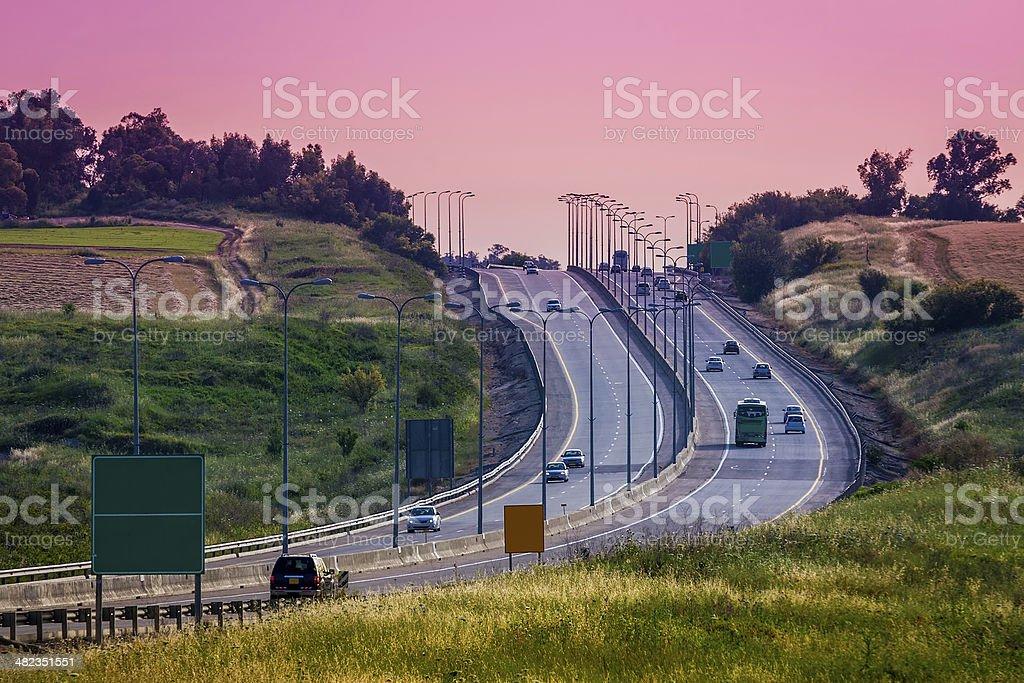 Intercity highway at evening. stock photo