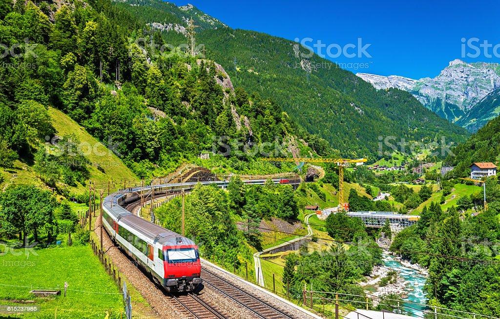 Intercity train at the Gotthard railway - Switzerland stock photo