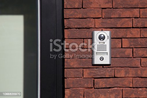 Intercom with camera - door security on a house.