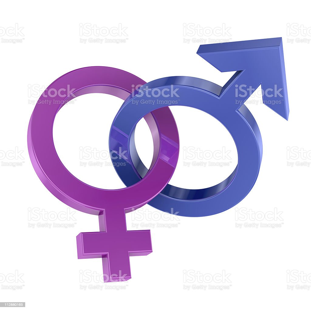 Interconnected gender symbols royalty-free stock photo