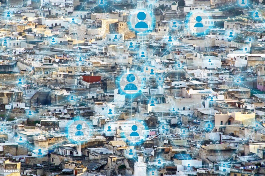 Interconnected smart town with online users stock photo