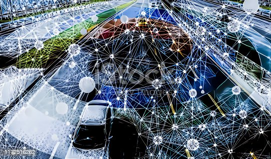istock Interconnected smart traffic with autonomous cars 1172516262