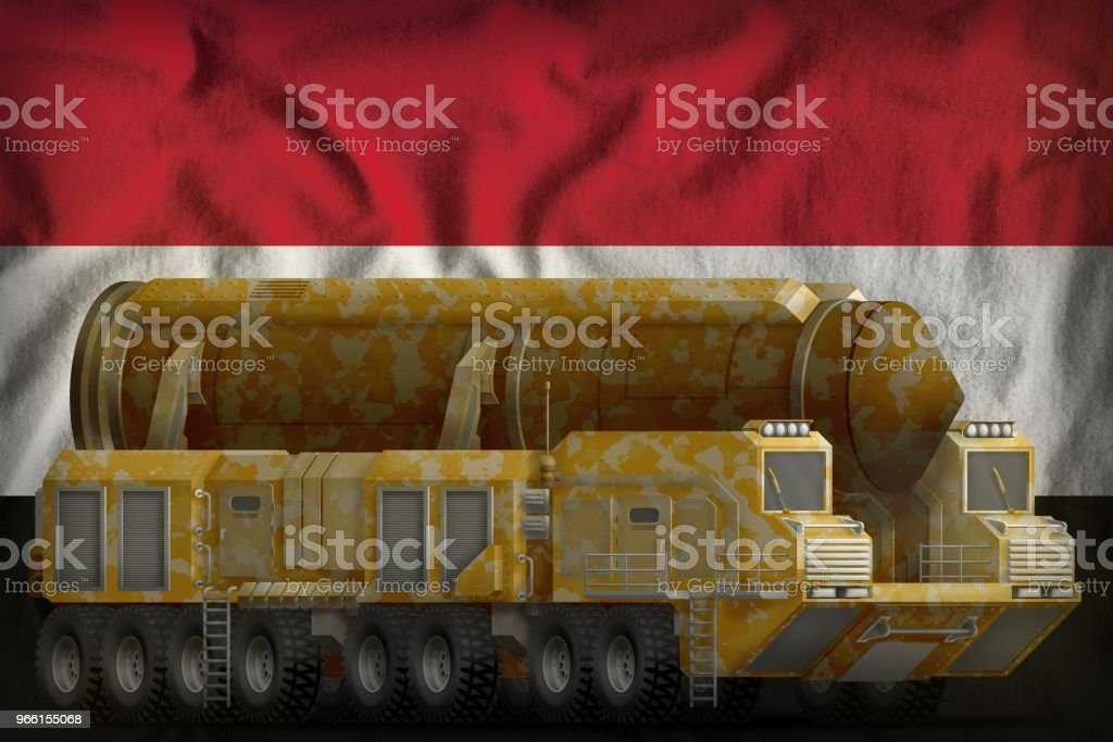 intercontinental ballistic missile with desert camouflage on the Syrian Arab Republic national flag background. 3d Illustration - Royalty-free Army Stock Photo
