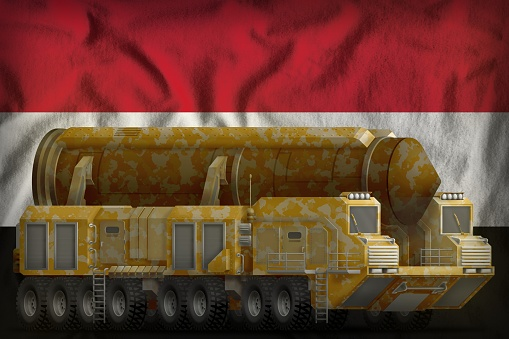 Intercontinental Ballistic Missile With Desert Camouflage On The Syrian Arab Republic National Flag Background 3d Illustration — стоковые фотографии и другие картинки Армия