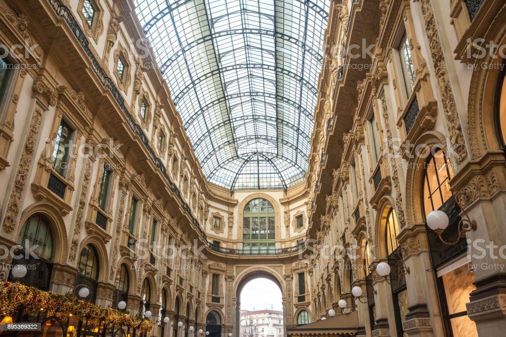 Interer of gallery Vittorio Emanuele II in square of Duomo in Milan,  Italy. stock photo
