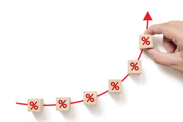 concept de taux d'intérêt financier et hypothécaire. main plaçant le bloc de cube en bois augmentant avec le symbole de pourcentage d'icône vers le haut - élevé photos et images de collection