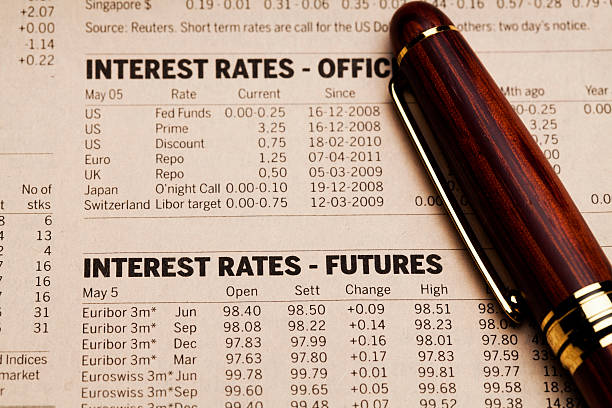 interest rates financial data - rates stock photos and pictures