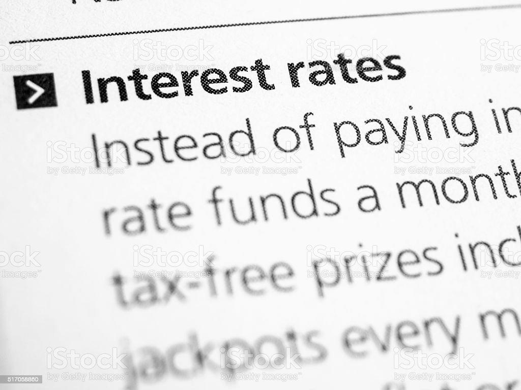 Interest rates stock photo