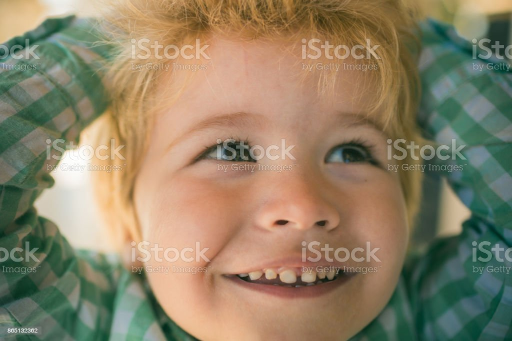 Interested Boy Face Brown Eyes And Blond Hair Of Adorable Little