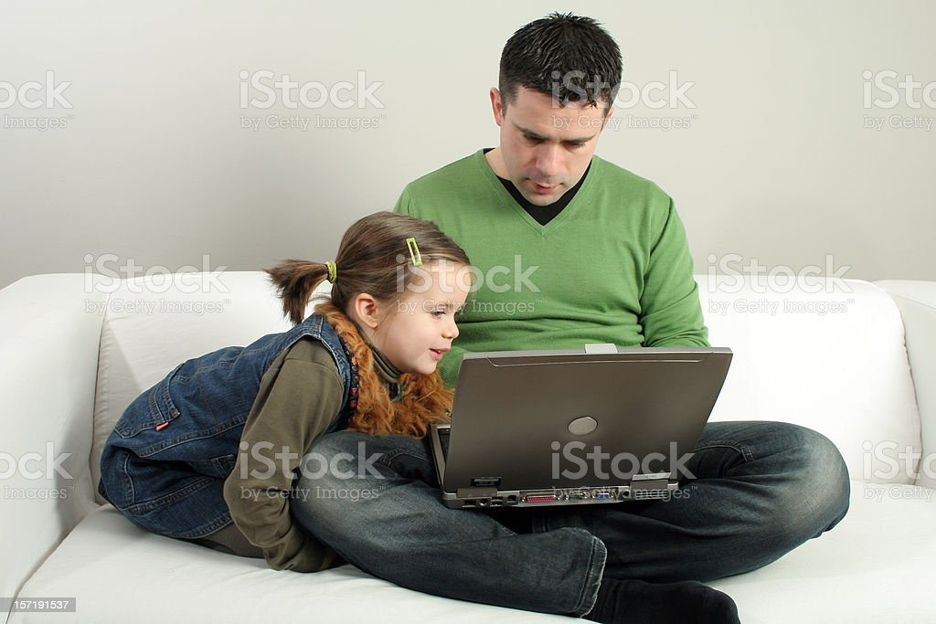 interested computer girl royalty-free stock photo