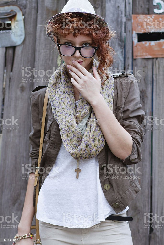 Interested hipster girl royalty-free stock photo