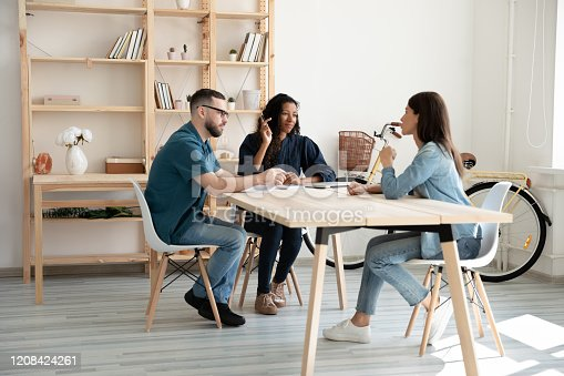 1031235468 istock photo Interested mixed race female male hr managers listening to applicant. 1208424261