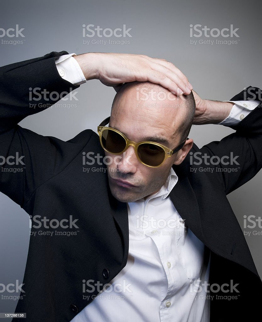 Interesting bald man stock photo