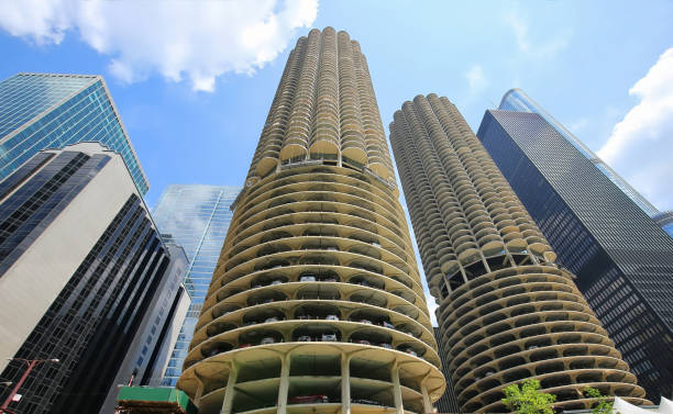 interesting building designs in downtown Chicago stock photo