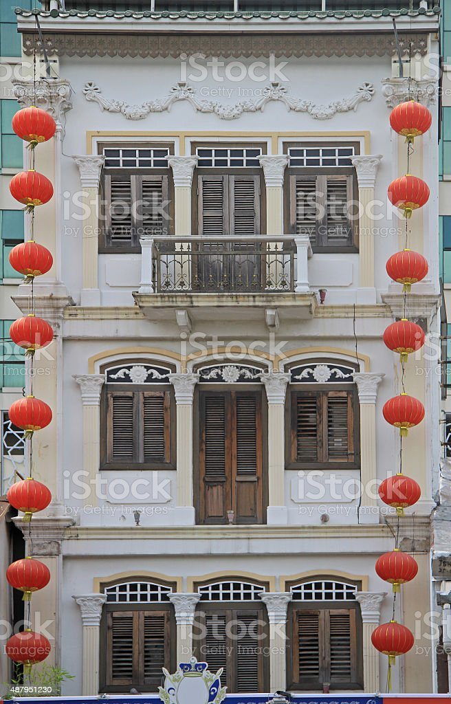 interesting building in the downtown of Johor Bahru stock photo