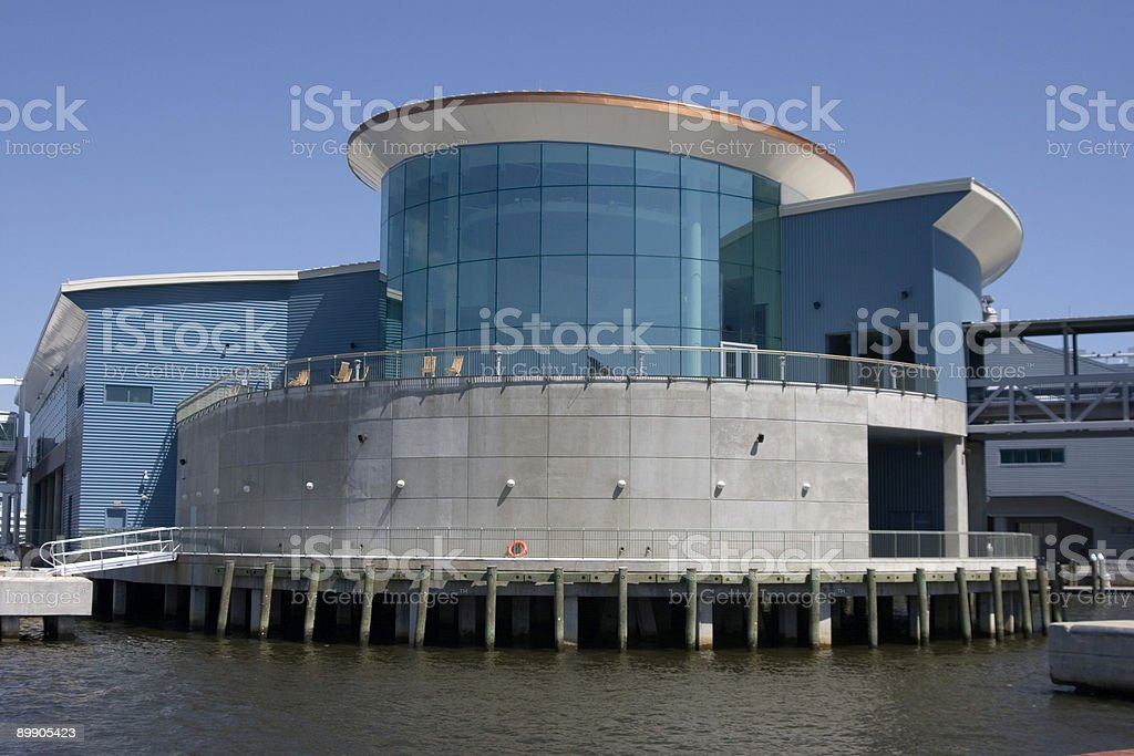 Interesting building on waters edge royalty-free stock photo