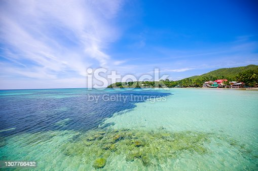 Interesting rock formations at one of the beaches on Siquijor island Philippines.  Panoramic viewl lagoon with white sand on the island of Siquijor. Philippines