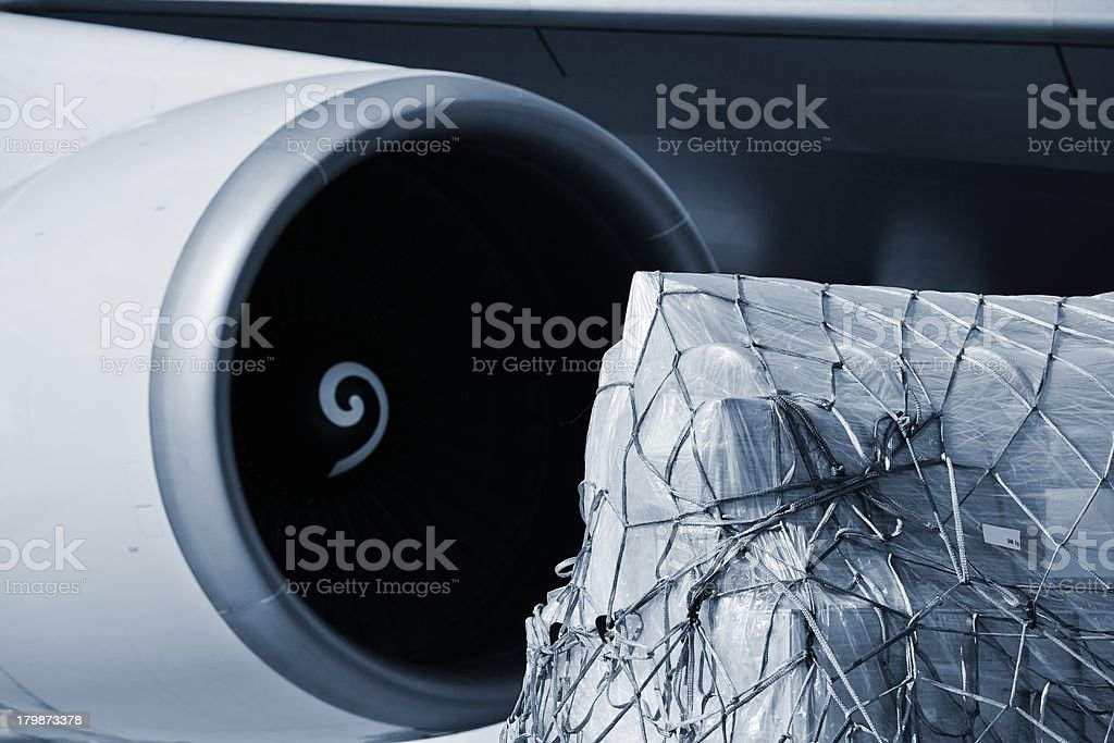 Interesting view of Cargo on an airplane  stock photo