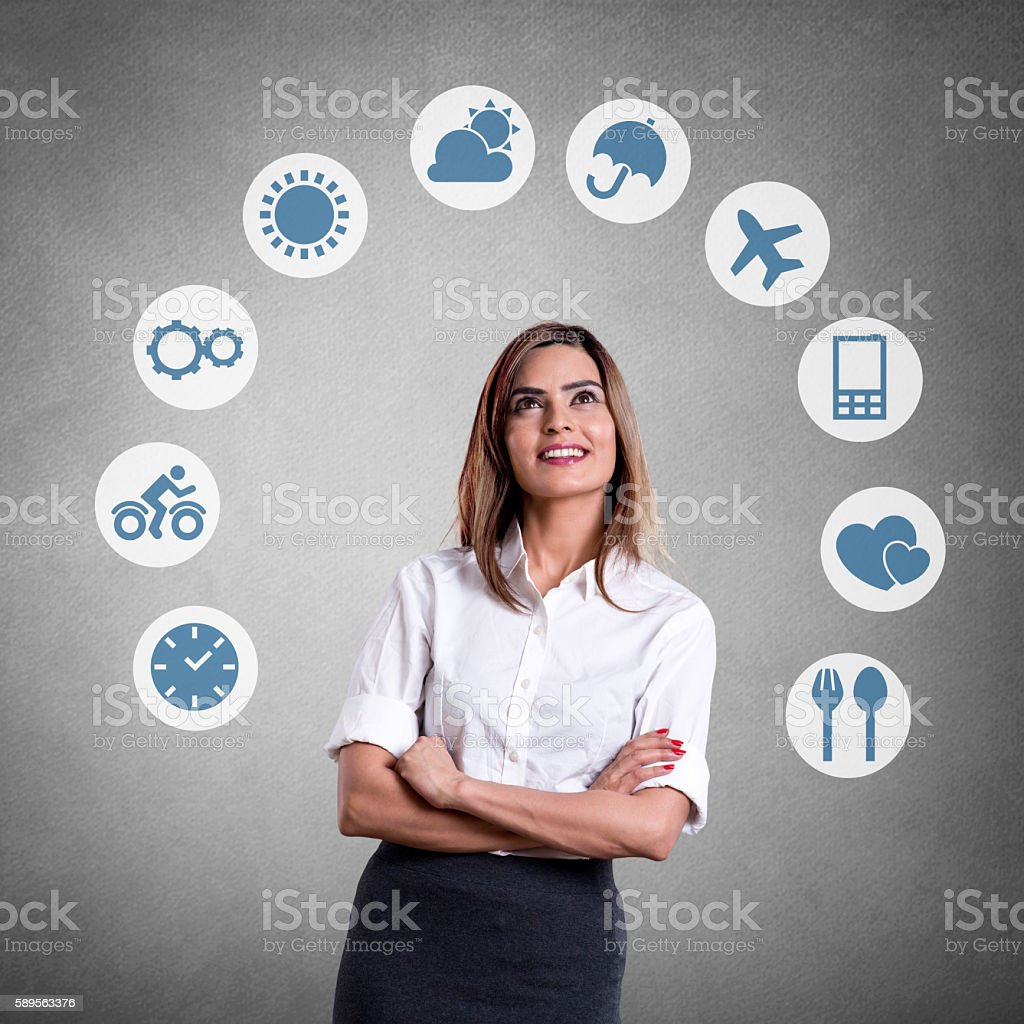 Interface icons drawn on wall stock photo