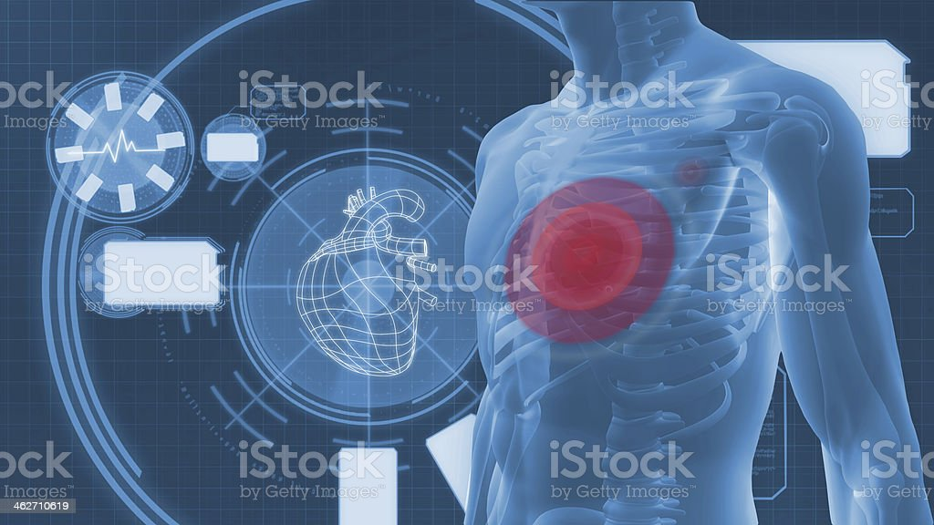 Interface of digital human figure with highlighted heart stock photo