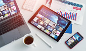 istock Interface of video distribution service. Subscription service. Streaming video. communication network. 1223789420