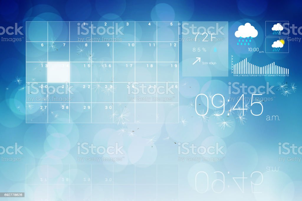Interface with time weather and calender stock photo