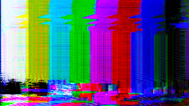 glitch color bars: tv interference, static, distorted test card or test pattern with colour static and noise - televisão estática imagens e fotografias de stock