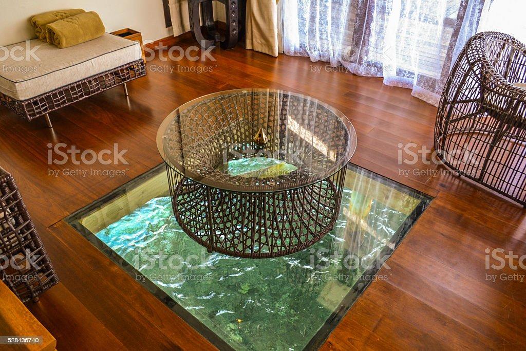 interier of maldives luxury ocean villa stock photo