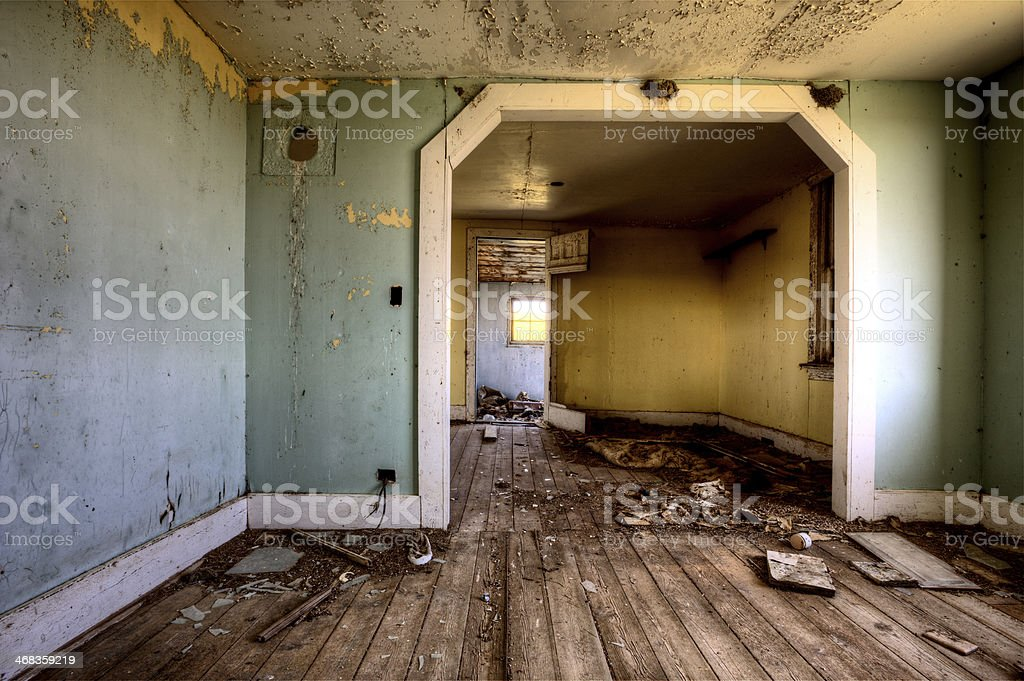 Interior abandoned house prairie stock photo