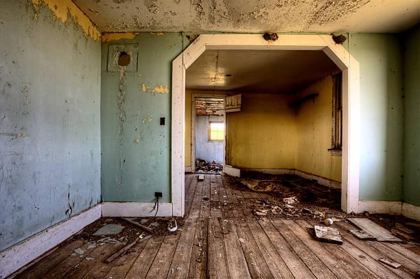Interior abandoned house prairie stock photo