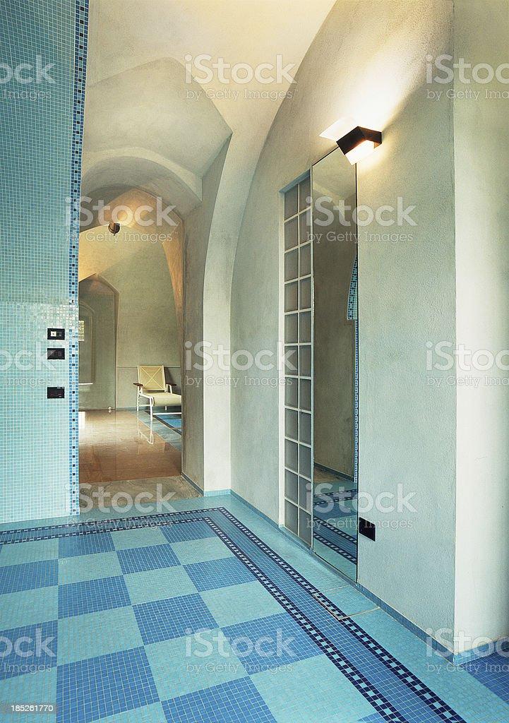 Interior ambient, mosaic floor tiles, plastered vaults stock photo