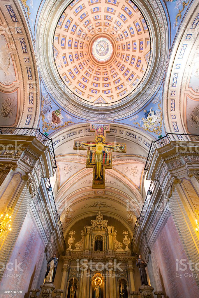 Interior and ceiling details of Cathedral Basilica in Salta stock photo