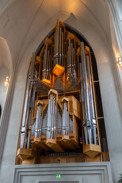 Interior and details of Hallgrimskirkja, Reykjavik, Iceland. Reykjavik, Iceland- 27 August 2015: Interior and details of Hallgrimskirkja, Lutheran, parish church, named after the Icelandic poet and clergyman Hallgrimur Petursson. Hallgrímskirkja church stock pictures, royalty-free photos & images