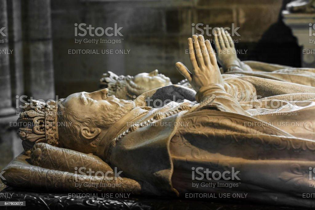 Interior and details of the Basilica of Saint Denis. Paris, France stock photo