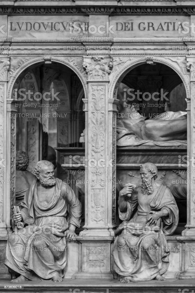 Interior and details of the Basilica of Saint Denis. Paris, France (Black and white) stock photo