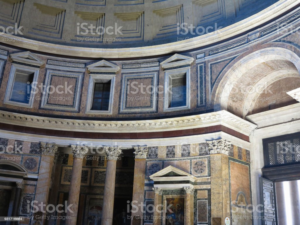 Interior and dome of the Pantheon temple of all pagan gods in Rome. stock photo