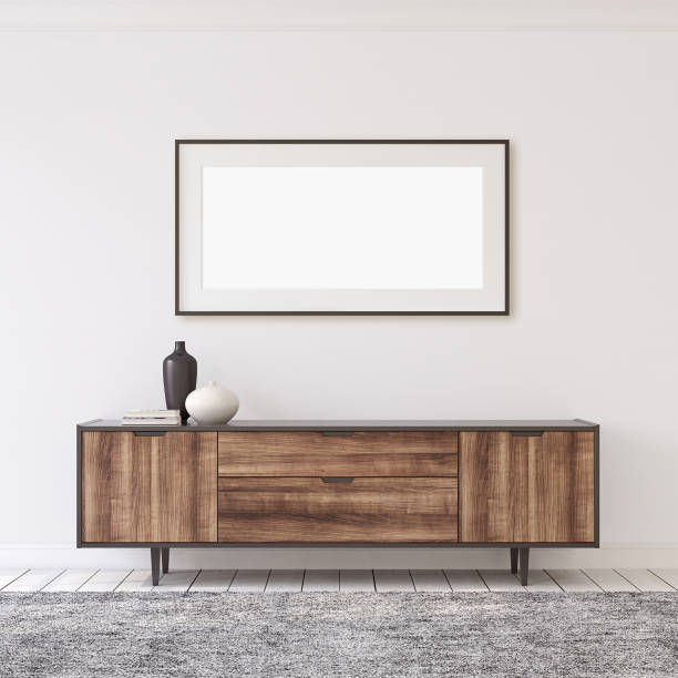 Interior and frame mockup. 3d render. stock photo