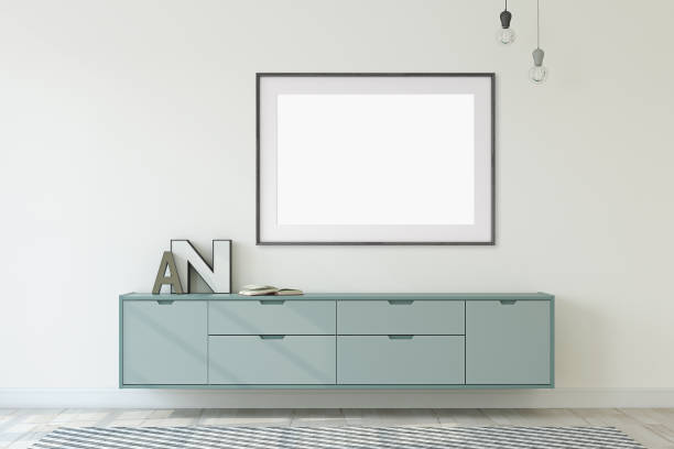 interieur und rahmen mock-up. 3d-rendering. - dielenkommoden stock-fotos und bilder