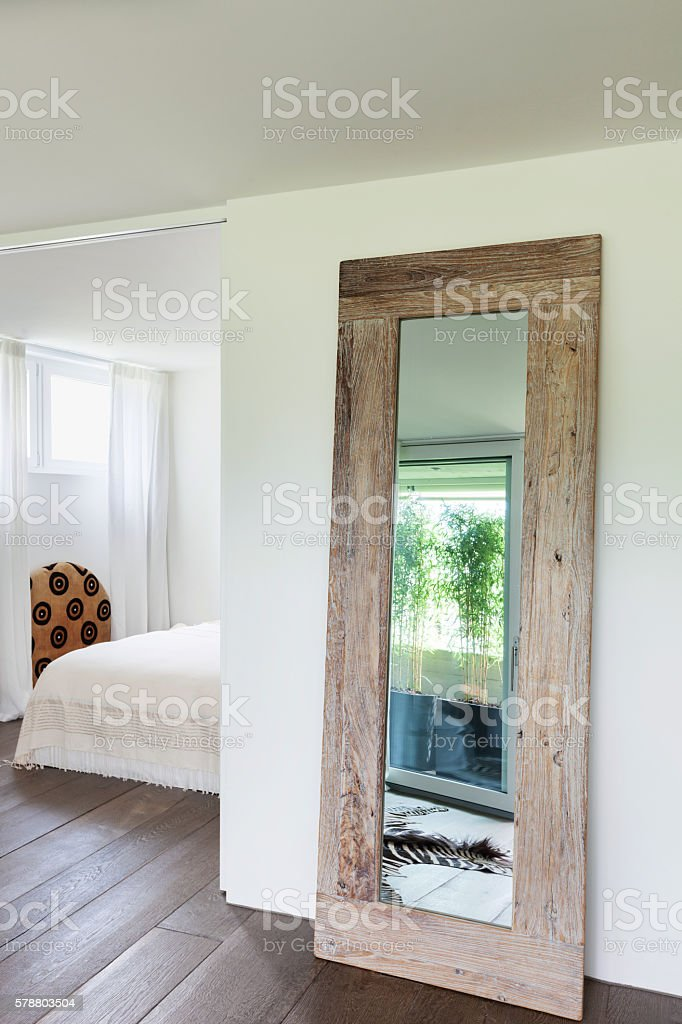Interior, anteroom with mirror stock photo
