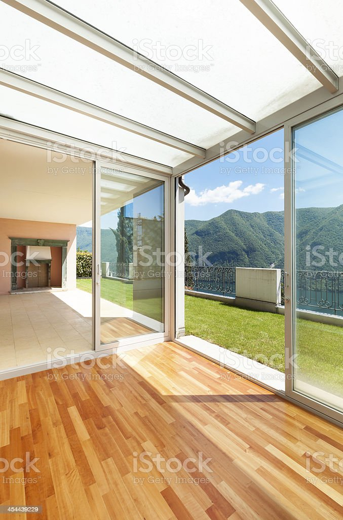 Interior apartment with garden, view from inside