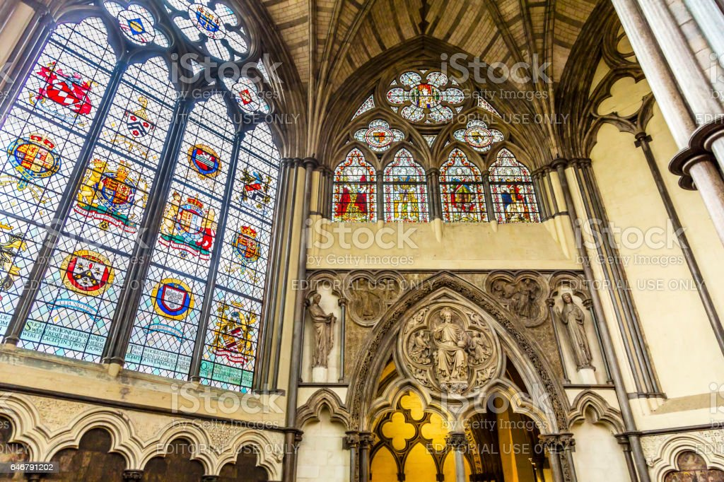 Interior Arches Stained Glass Chapter House Westminster Abbey London England stock photo