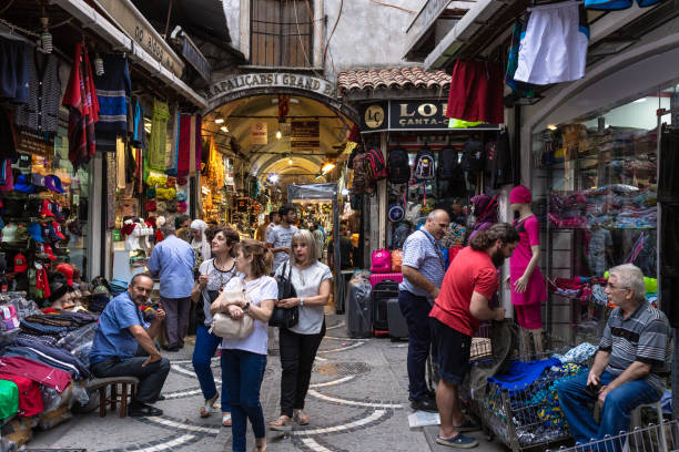 Interior architectural view of Grand Bazaar in Istanbul stock photo