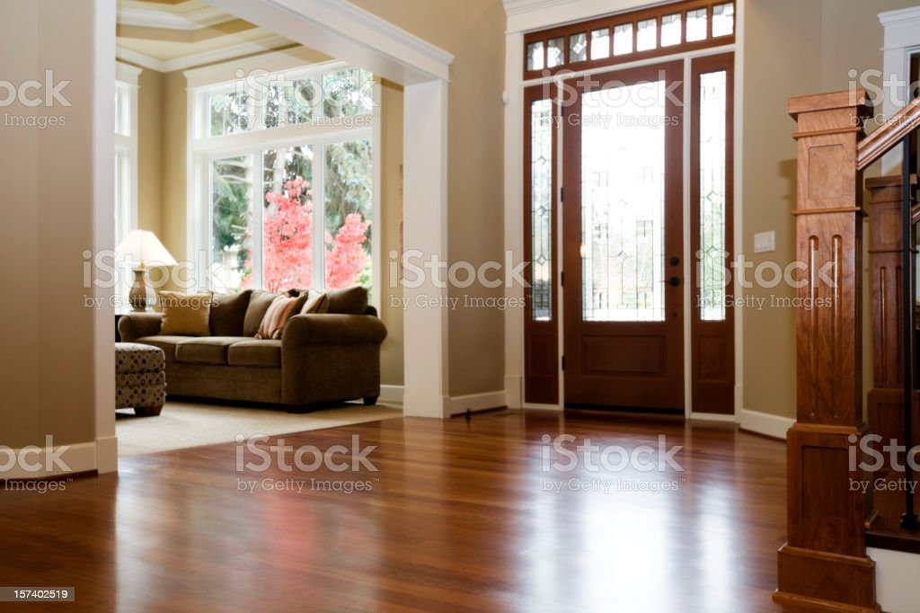 Interior architecture Luxury Foyer with beautiful hardwood floors house stock photo