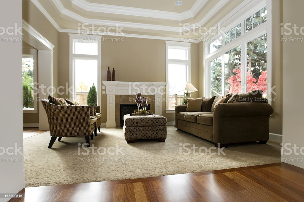 Interior de la arquitectura moderna, de lujo, sala de estar - foto de stock