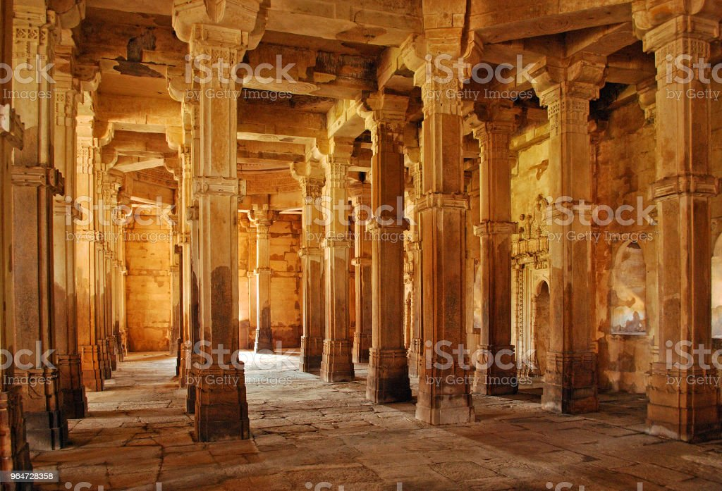 Interior architecture of Jami Masjid (mosque) at Champaner, Pavagadh Archeological Park royalty-free stock photo