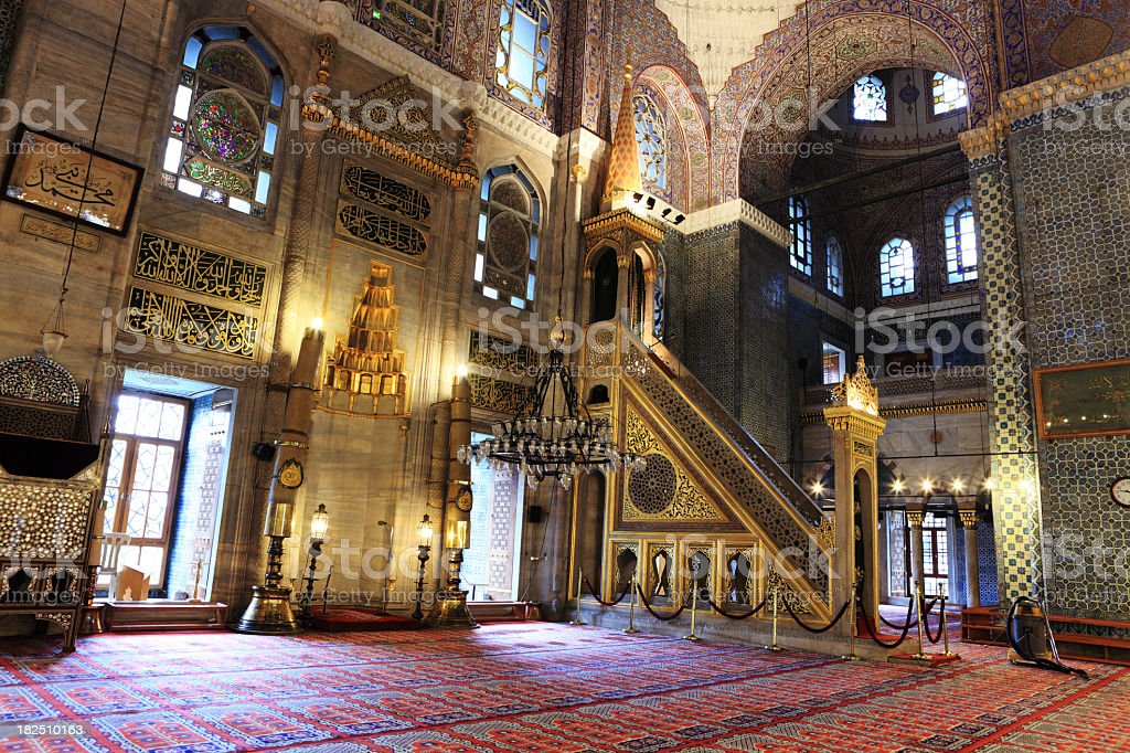 Interior Art Islamic Calligraphy Yeni Cami Mosque Pulpit stock photo