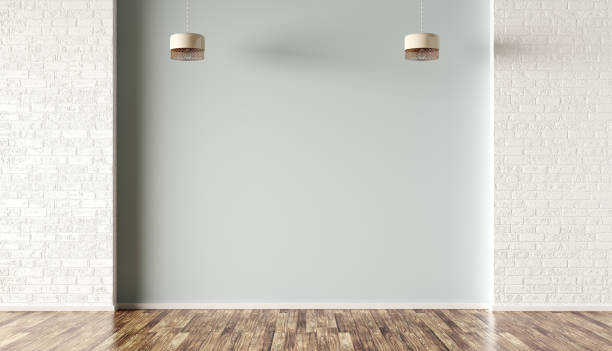 fundo interior do quarto com rendição das lâmpadas 3d - room - fotografias e filmes do acervo